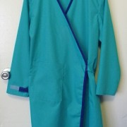 lab coat teal and blue